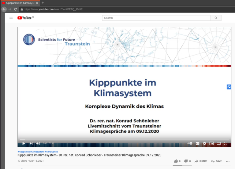 YouTube Video Klimagespräch Kipppunkte im Klimasystem